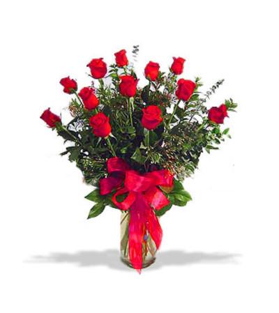 Dozen Long Stem Red Roses w/premium greenery