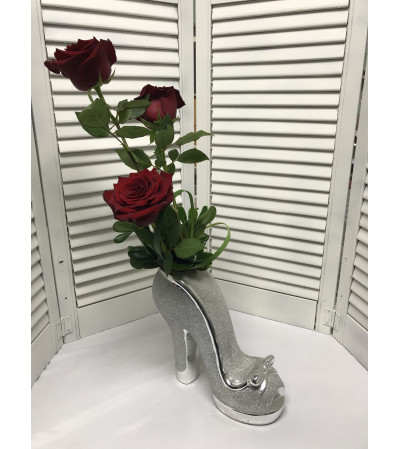 Glitter Shoe Bouquet W/ Red Roses