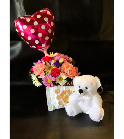 CUPCAKE ARRANGEMENT AND TEDDY BEAR TREATS