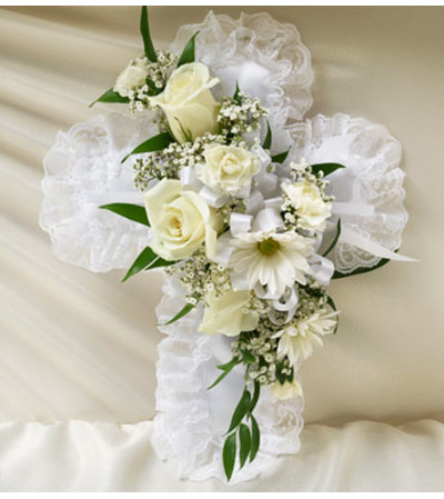 Cross Casket Pillow White Satin