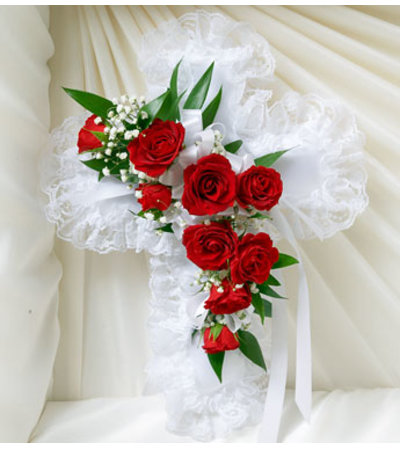 Cross Casket Pillow Red & White Satin