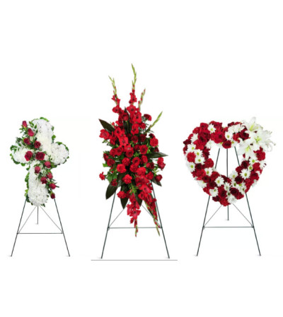 Red and white funeral package