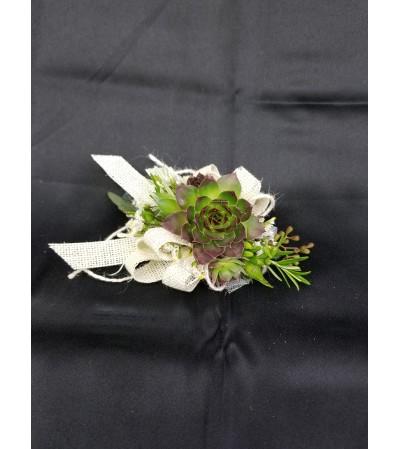Burlap & Succulents Corsage