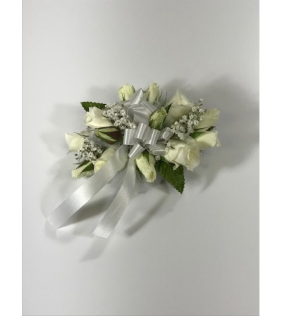 White Mini Rose Wrist Corsage *PLEASE CALL TO ORDER*