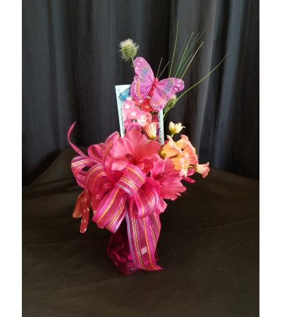 Garden Basket Pink Glove Vase
