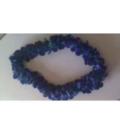 Double blue bombay orchid lei