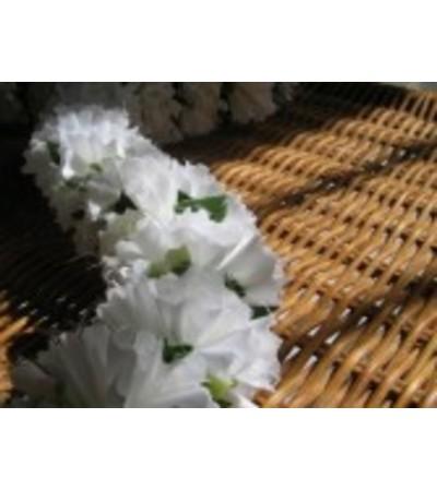Double white carnation lei