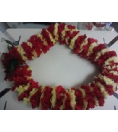 Double red and yellow carnation lei