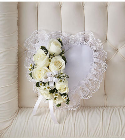 Satin Heart Casket Pillow White