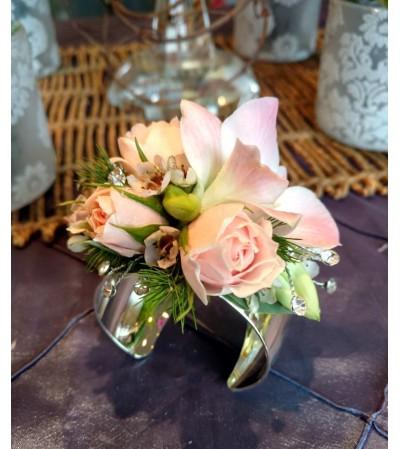 Flowers on silver  cuff