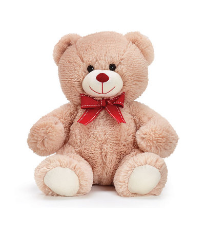 BEIGE BEAR WITH RED BOW