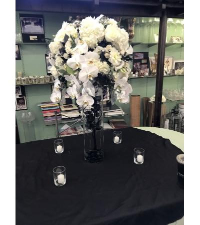 white and black elegant center piece