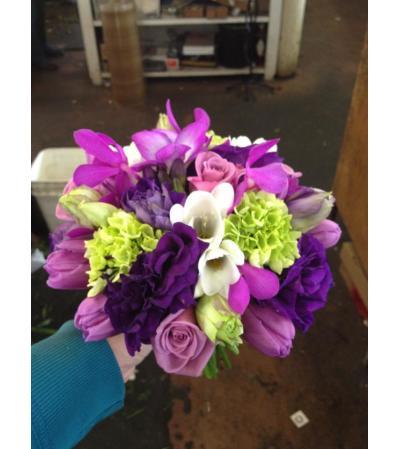 bridal bouquet, purple, lavender and green53