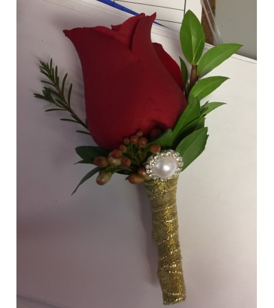 Red and gold boutonniere