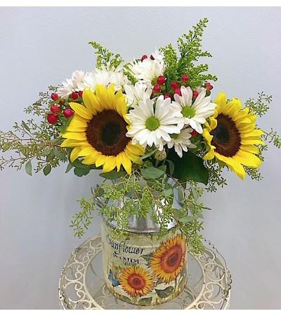 Rustic Fall Arrangment in Sunflower Milk Can