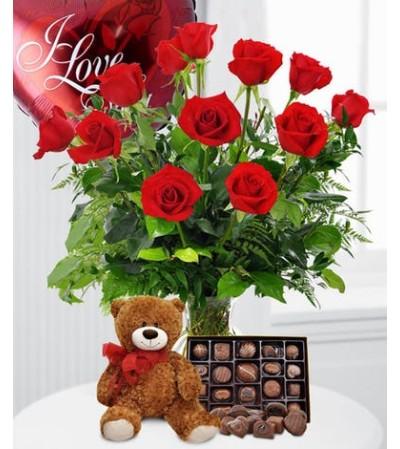 12 Roses, Balloon, Bear & Candy