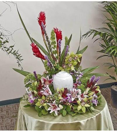 Tropical Memorial Urn Display