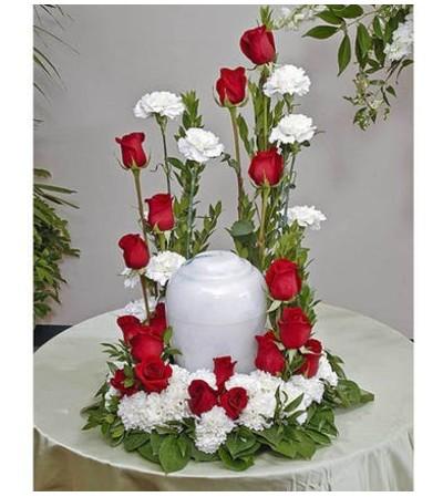 Red & White Urn Display