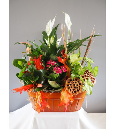 Blooming Fall Tin Planter