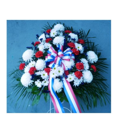STANDING BASKET- RED, WHITE, AND BLUE