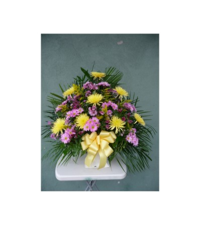 FLOOR BASKET- LAVENDER AND YELLOW