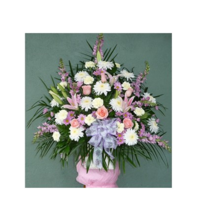 FLOOR BASKET- SHADES OF LAVENDER, PINK, AND WHITE