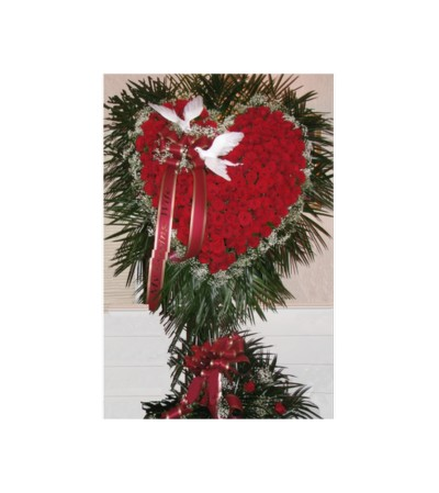 LARGE HEART OF RED ROSES W/ BABIES BREATH & DOVES