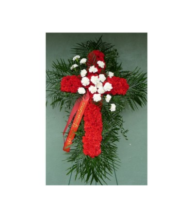 RED CARNATION CROSS WITH WHITE CARNATION BREAK