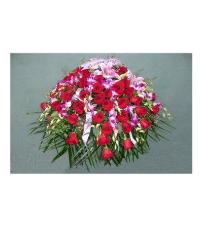 CASKET SPRAY- ROSES, ORCHIDS, & LILIES