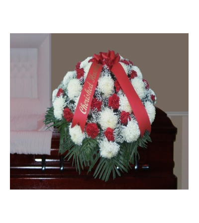WHITE FOOTBALL MUM AND RED CARNATION CASKET SPRAY