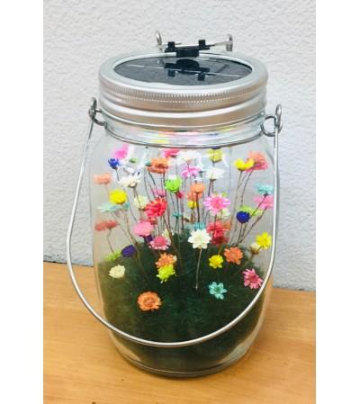 Forever Love Flower designed in Mason Jar with LED Light