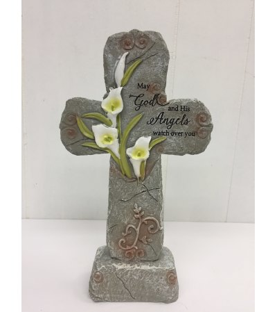 """9.5"""" Resin Cross with Lily """"May God and His Angels watch over you"""
