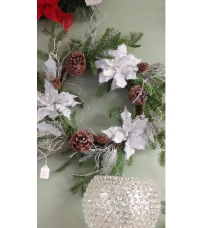 Artificial Poinsettia Wreath