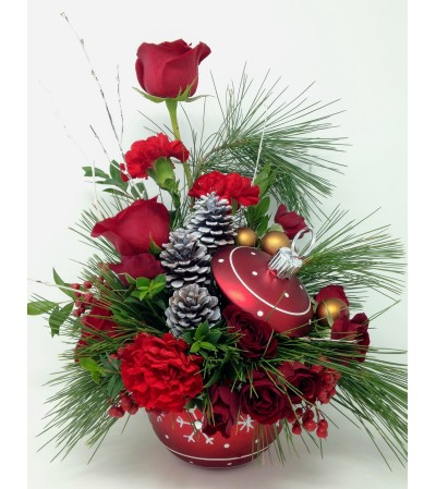 Snowflakes on Red Ornament Bouquet