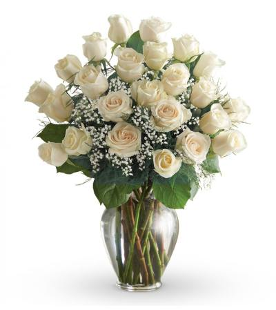 24 WHITE ROSES ARRANGED