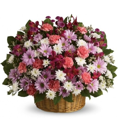 THREE-SIDED ARRANGEMENT OF ASSORTED DAISIES IN WIDE BOTTOM BASKET