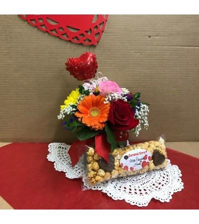 Fresh Valentine's Popcorn and Flower Arrangement