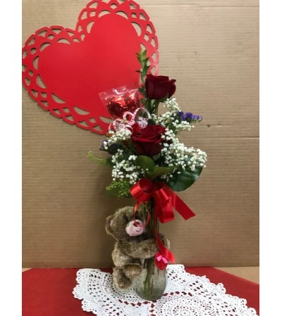 Valentine's Day Bear and Flowers