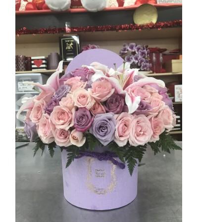 Cupid's Lavender Love Box Bouquet
