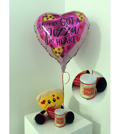 """""""You've got a PIZZA my heart"""" Valentine's Day balloon set"""