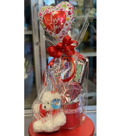I Love You candy arrangement with plush
