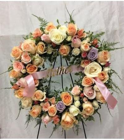 """18"""" Open Wreath with Mixed Color Roses"""