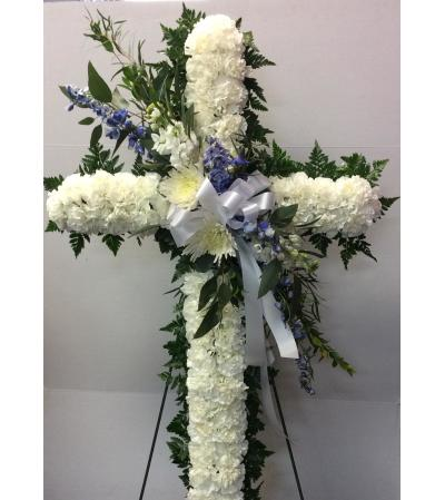 "Blue and White 30"" Cross"
