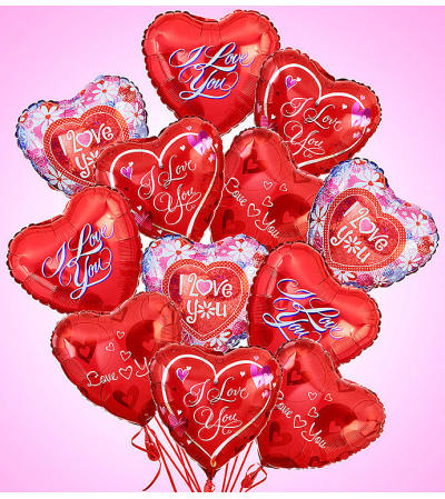 Dozen Love and Romance Mylar Arrangement