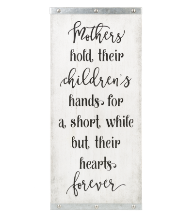 Mothers hold their children's hands....
