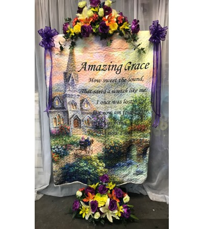 Amazing Grace Quilt on Stand with Silk Flowers