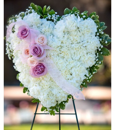 Closed Heart -White Carnations with Pink & Lavender Roses