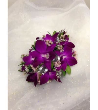 Wristlet 2 - Purple dendrobium orchids (pick up only)