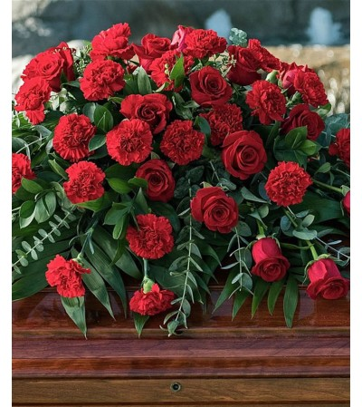 Casket Spray-Red Roses & Red Carnations