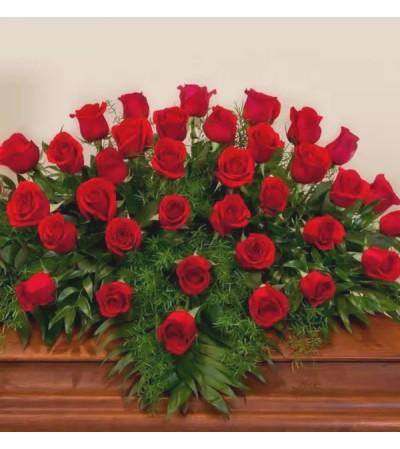 Casket Spray-Red Roses